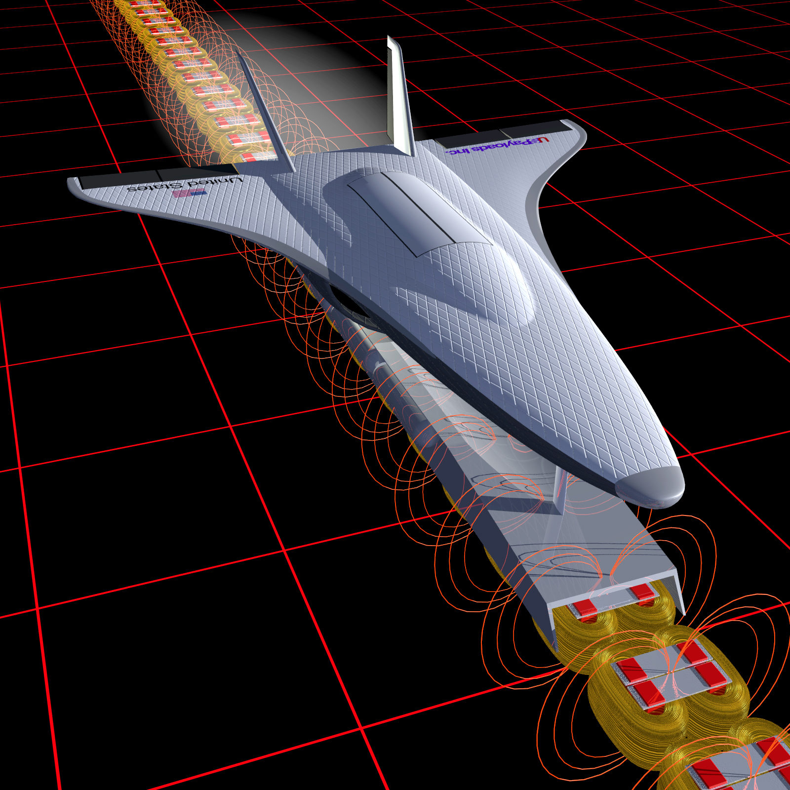 Computer Rendering of a Maglev shuttle propulsion system.